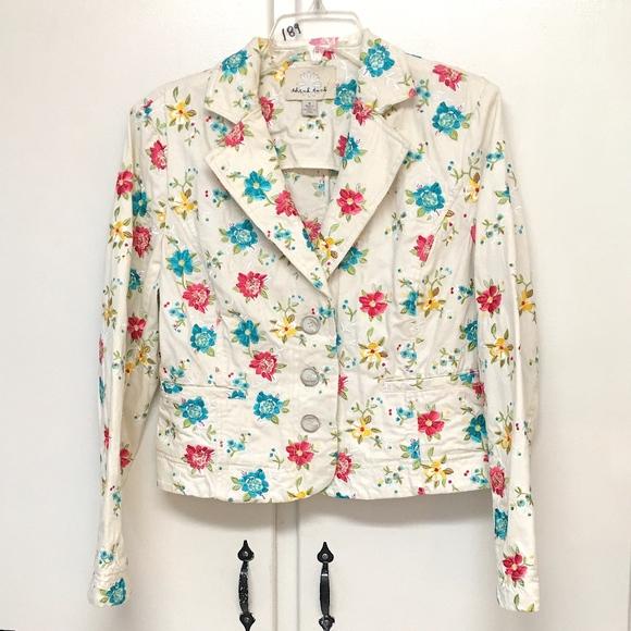 Think Tank Jackets & Blazers - Think Tank Denim Jacket Cream colorful flowers